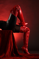 Rote Lederstiefel