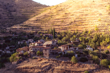 Lazanias, picturesque mountain village in the Nicosia District of Cyprus. Color tone tuned