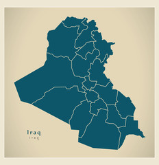 Modern Map - Iraq with governorates and regions IQ