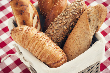 Various kinds of fresh bread. Shallow depth of field.