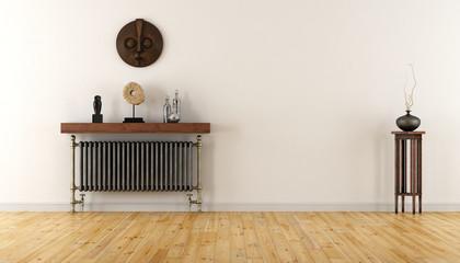 White room with vintage radiator