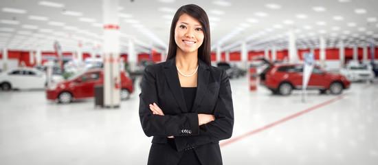 Car dealer chinese woman.