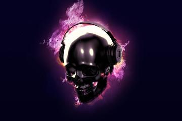 Burning skull with headphones.