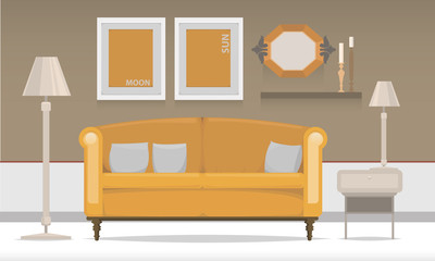 Interior with orange sofa