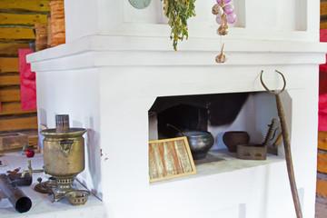 Old stove, samovar, pots