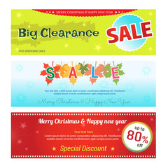 Set of promotion sale discount web banner for Chrismas and new year