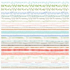 Hand drawn seamless  line border set.Colored Doodle decor