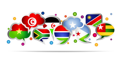 Africa countries bubble speech shapes. Set 2