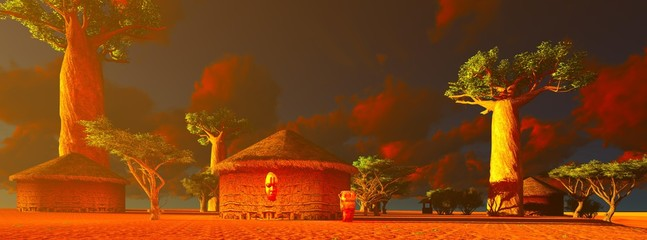 African village with traditional huts