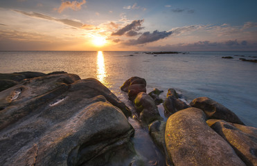 sunset above beautiful rock at Borneo Malaysia