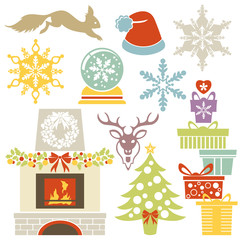 Set of flat Christmas design elements and icons isolated