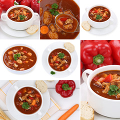 Collage Gulasch Suppe Suppen Gulaschsuppe Suppentasse mit Fleisc