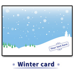 winter card with trees and snowmen