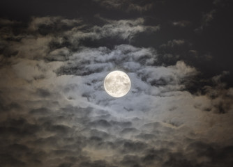 Mysterious Super Moon in the Clouds, Millbrook, New York, 2015