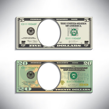 Stylized money looses face for print or web
