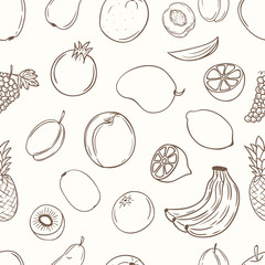 Fruits with name seamless pattern.
