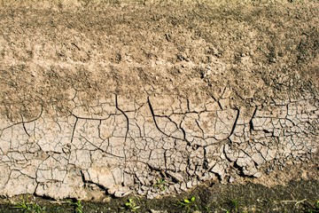 Cracked earth from the intense heat. Drought. Type of road tread.