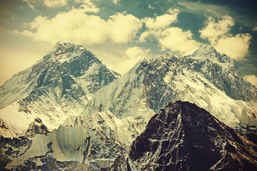 Retro toned picture of Mount Everest, Nepal.