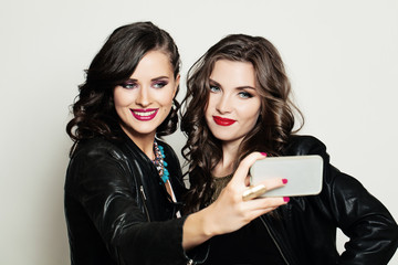 Selfie. Fashion Portrait of Smiling Happy Women