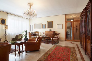 Living room, classic interior with antiquities