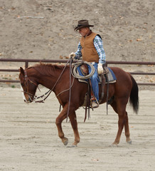 A cowboy doing training exercises on his horse in an arena.