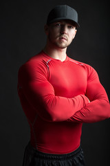 Muscular man in red