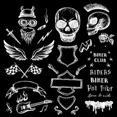 bikers doodles set, hand drawn design elements