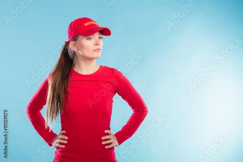 d8f3041132e Portrait of lifeguard woman in red cap.