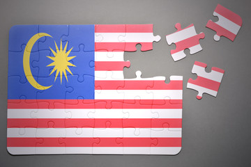 puzzle with the national flag of malaysia