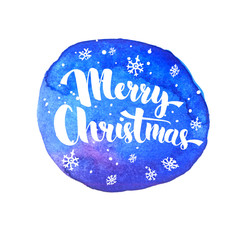 Merry Christmas lettering with white snow at artistic blue background. Vector greeting card with modern calligraphy