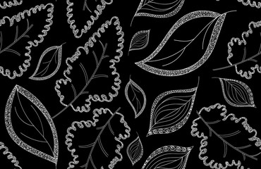 Vector natural endless texture with oak and other leaves