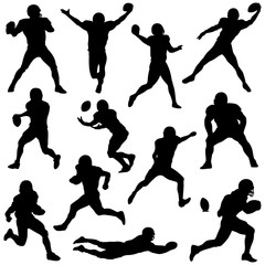 various football players in silhouette vectors