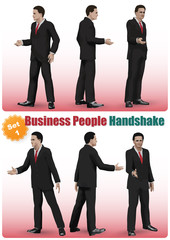 Male Business People Handshake Set