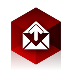 email red cube 3d modern design icon on white background