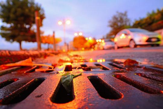 drainage sewer at sunset