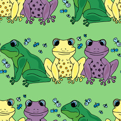 Illustration should be different than that. Colored frogs. Seamless pattern.