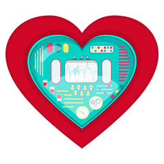 Mechanical heart shape. Heart shape with a cute machine inside. Isolated. White background.