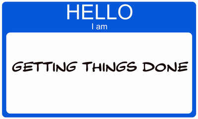 Hello I am Getting Things Done blue name tag