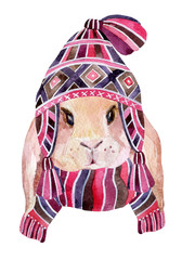 Rabbit with winter hat andscarf