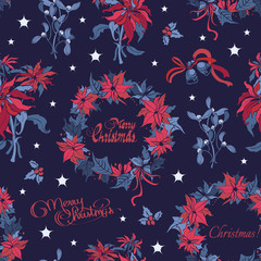 Vector Wreath Christmas Night Flowers Bells Seamless Pattern. Dark Blue
