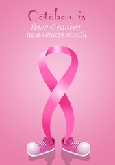 Pink awareness ribbon with shoes