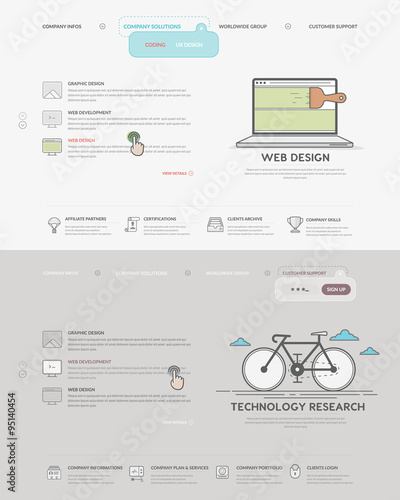 Website Template Elements Set Of Two Homepage Templates For