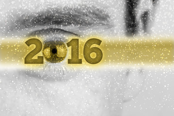 Creative 2016 New Year background with the date in a golden bann