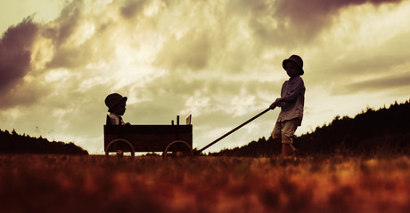 Two little brothers playing with the wooden carriage