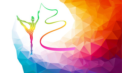 Silhouette of gymnastic girl with ribbon, vector illustration in polygon style