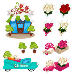 Set of icons shop flowers, bouquets of roses, car delivery