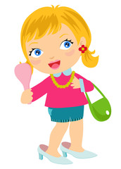 Illustration of a Little Kid Girl Wearing Adult Shoe holding a Handheld Mirror