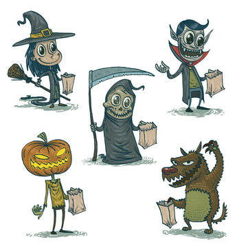 Vector cartoon Image of five happy Halloween characters: a witch, a vampire, the death, jack-o'-lantern with orange pumpkin head and  werewolf on a white background.