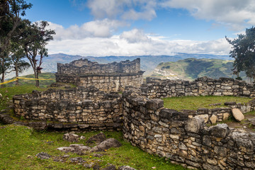 Ruins of round houses of Kuelap, ruined citadel city of Chachapoyas cloud forest culture in mountains of northern Peru.
