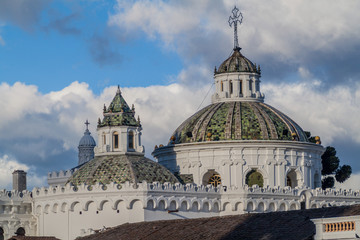 Cupola of La Compania de Jesus church in old town of Quito, Ecuador